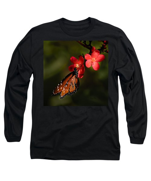 Butterfly On Red Blossom Long Sleeve T-Shirt