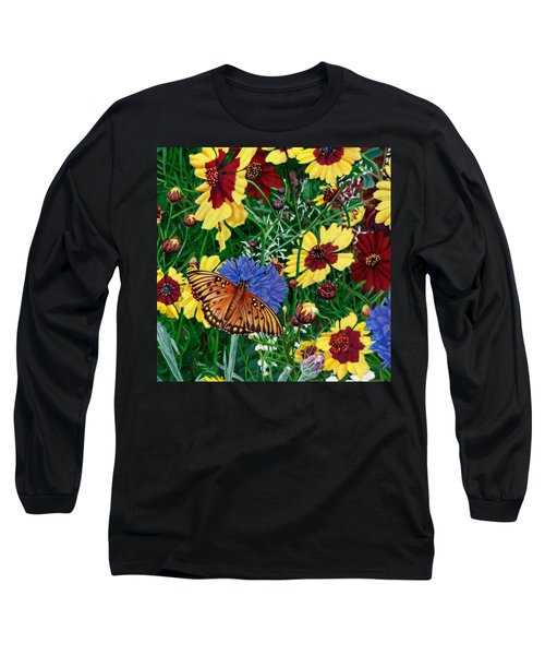 Butterfly Wildflowers Garden Floral - Square Format Image - Spring Decor - Green Blue Orange-2 Long Sleeve T-Shirt