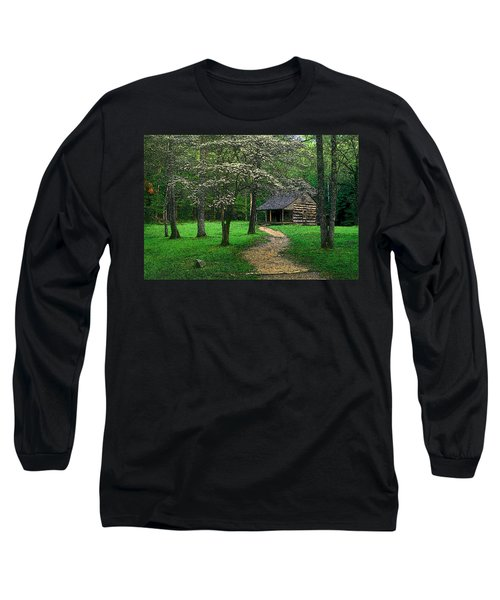 Long Sleeve T-Shirt featuring the photograph Cabin In Cades Cove by Rodney Lee Williams