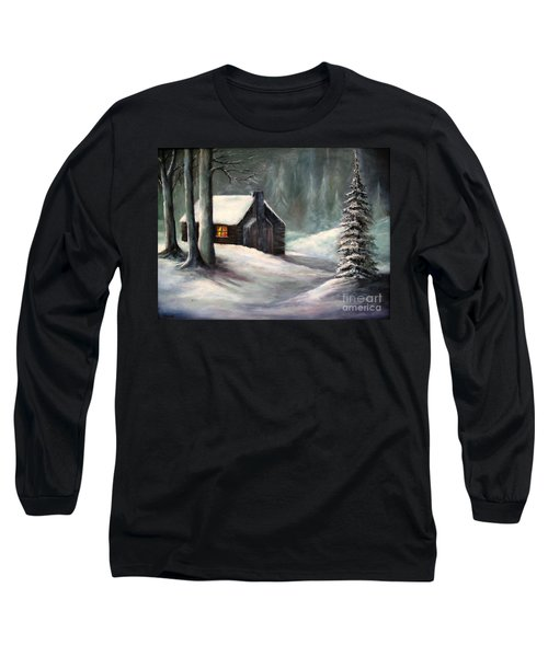 Long Sleeve T-Shirt featuring the painting Cabin In The Woods by Hazel Holland