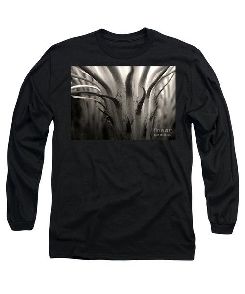 Cactus Bloom In Sepia Long Sleeve T-Shirt by Ellen Cotton