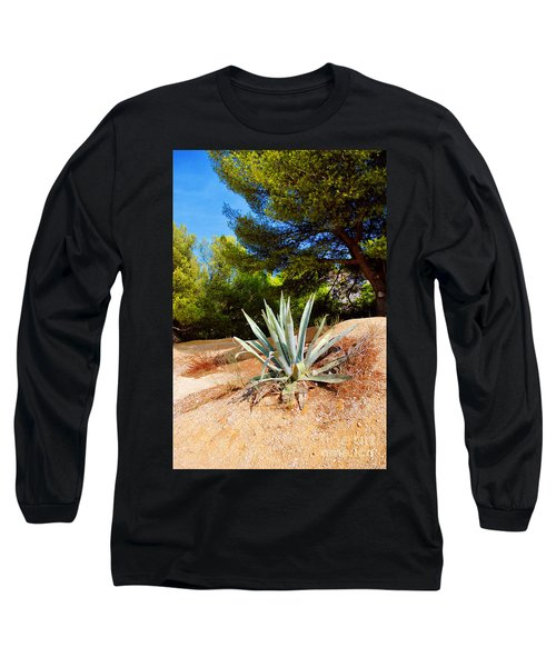 Long Sleeve T-Shirt featuring the photograph Cactus On A Rocky Coast Of French Riviera by Maja Sokolowska