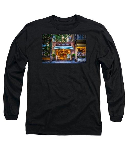 Cafe Beignet Morning Nola Long Sleeve T-Shirt by Kathleen K Parker