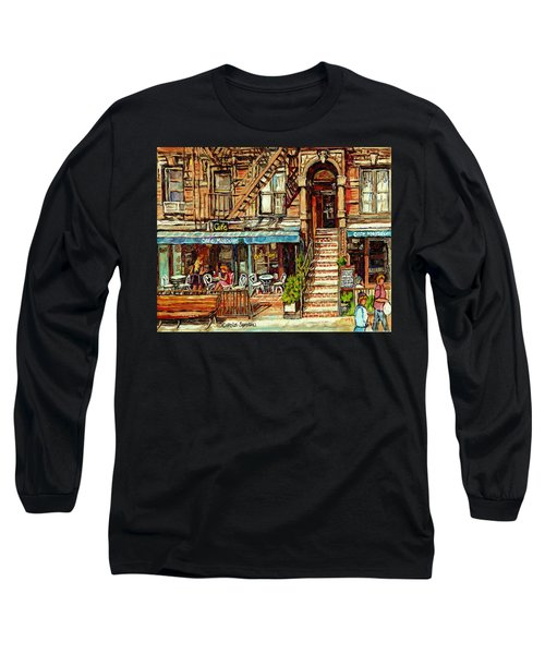 Cafe Mogador Moroccan Mediterranean Cuisine New York Paintings East Village Storefronts Street Scene Long Sleeve T-Shirt