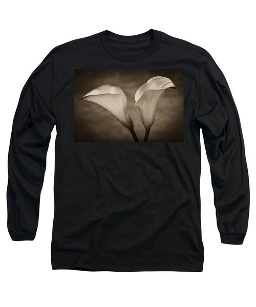 Long Sleeve T-Shirt featuring the photograph Calla Lilies In Sepia by Sebastian Musial