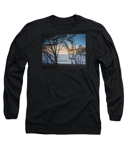 Long Sleeve T-Shirt featuring the painting Cambria Cypress Trees At Sunset by Ian Donley