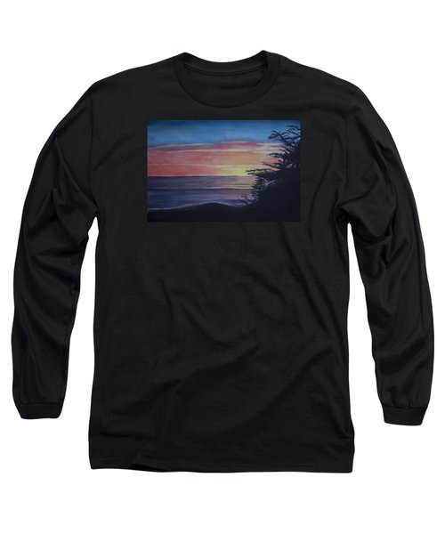 Long Sleeve T-Shirt featuring the painting Cambria Setting Sun by Ian Donley