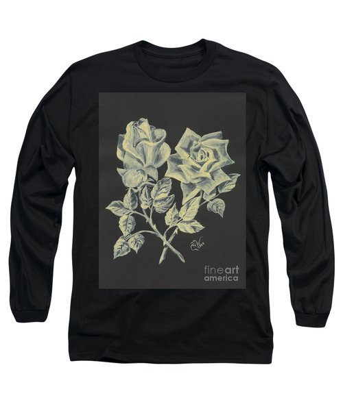 Long Sleeve T-Shirt featuring the painting Cameo Rose by Carol Wisniewski