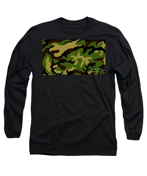 Long Sleeve T-Shirt featuring the painting Camouflage Military Tribute by Roz Abellera Art
