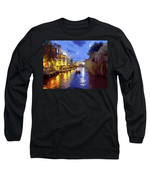 Water Canals Of Amsterdam Long Sleeve T-Shirt by Georgi Dimitrov