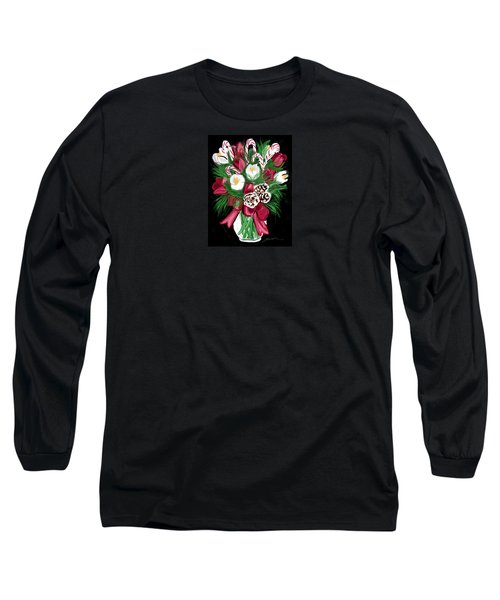 Long Sleeve T-Shirt featuring the painting Candy Cane Bouquet by Jean Pacheco Ravinski