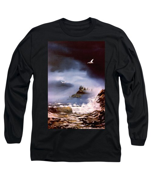 Long Sleeve T-Shirt featuring the painting Cannon Beach Oregon by Craig T Burgwardt