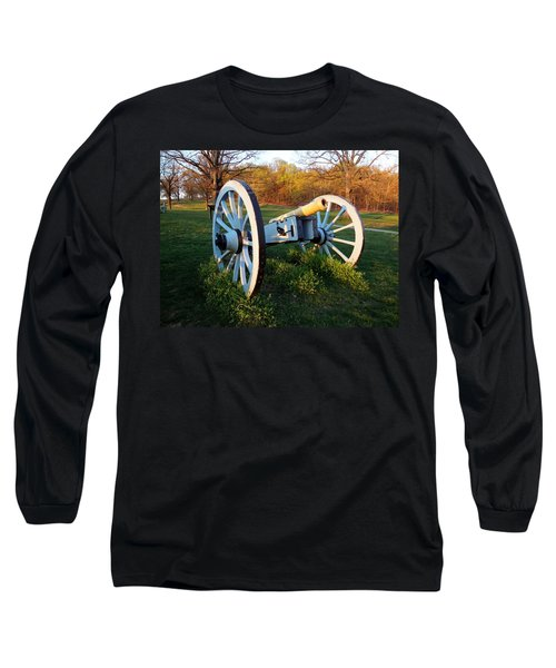 Long Sleeve T-Shirt featuring the photograph Cannon In The Grass by Michael Porchik