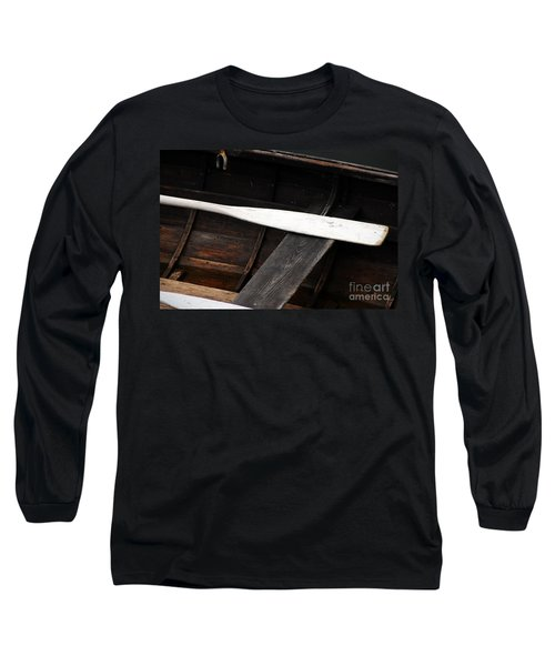 Long Sleeve T-Shirt featuring the photograph Canoe And Oar by Mary Carol Story