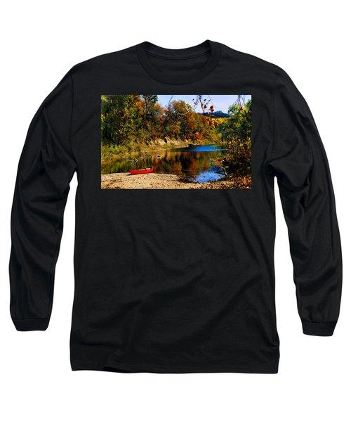 Canoe On The Gasconade River Long Sleeve T-Shirt