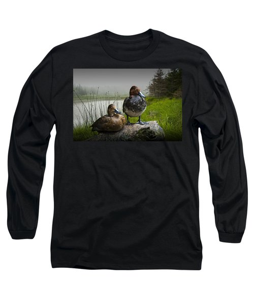 Canvasback Duck Pair By A Pond Long Sleeve T-Shirt