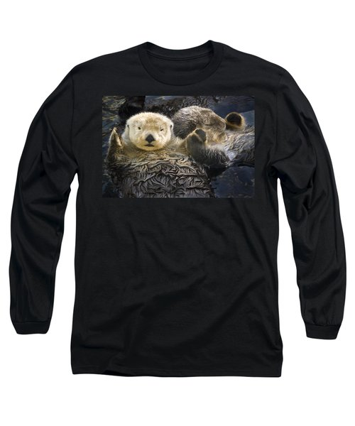 Captive Two Sea Otters Holding Paws At Long Sleeve T-Shirt
