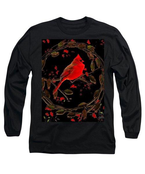 Cardinal On Metal Wreath Long Sleeve T-Shirt by Janette Boyd