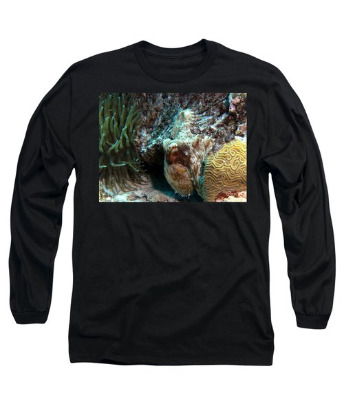 Caribbean Reef Octopus Next To Green Anemone Long Sleeve T-Shirt by Amy McDaniel