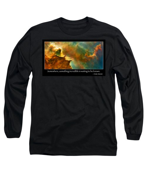 Carl Sagan Quote And Carina Nebula 3 Long Sleeve T-Shirt by Jennifer Rondinelli Reilly - Fine Art Photography