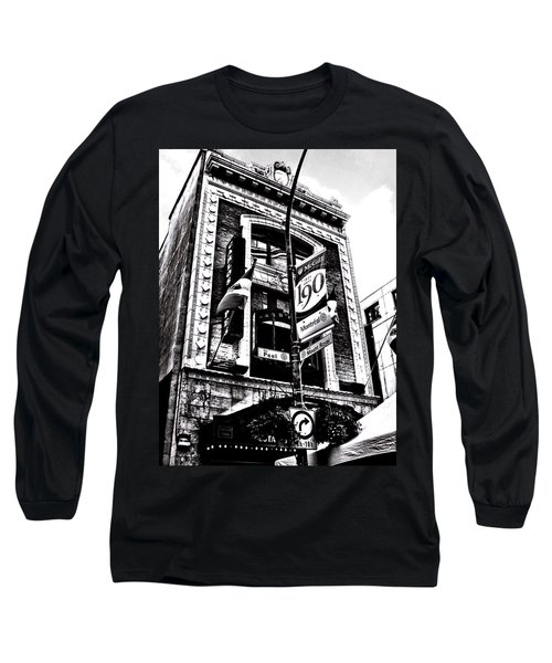 Long Sleeve T-Shirt featuring the photograph Carlos And Pepe's Montreal Mexican Bar Bw by Shawn Dall