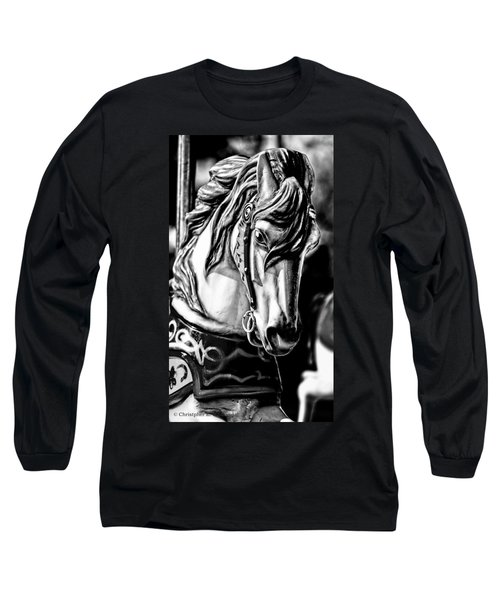Carousel Horse Two - Bw Long Sleeve T-Shirt