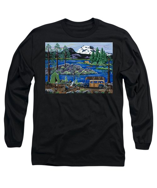 Long Sleeve T-Shirt featuring the painting Cascade Lake Sparks by Jennifer Lake