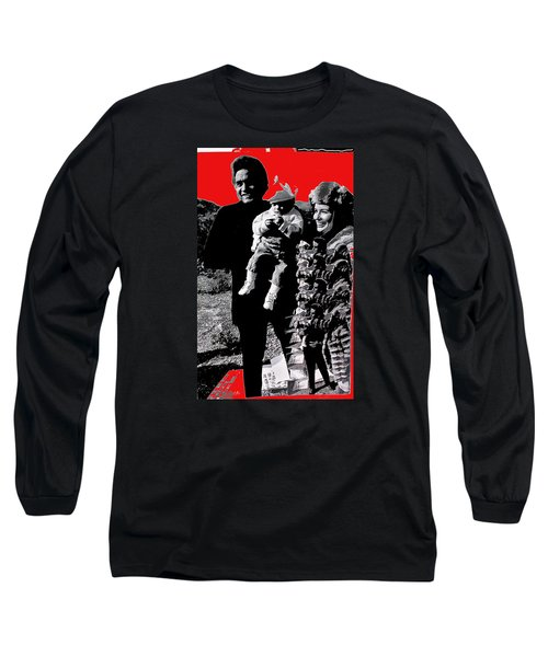 Long Sleeve T-Shirt featuring the photograph Cash Family In Red Old Tucson Arizona 1971-2008 by David Lee Guss