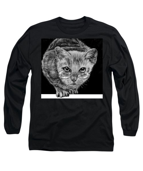 Cat In Glasses  Long Sleeve T-Shirt by Jean Cormier