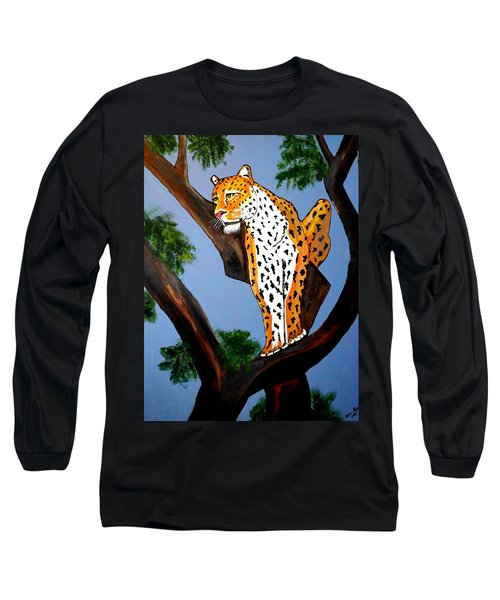 Long Sleeve T-Shirt featuring the painting Cat On A Hot Wood Tree by Nora Shepley