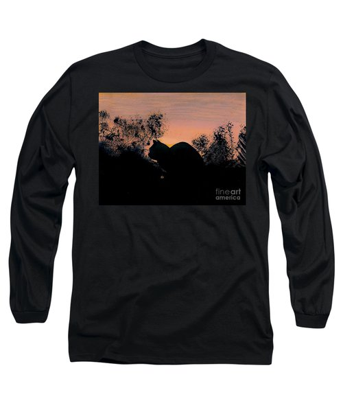 Long Sleeve T-Shirt featuring the drawing Cat - Orange - Silhouette by D Hackett