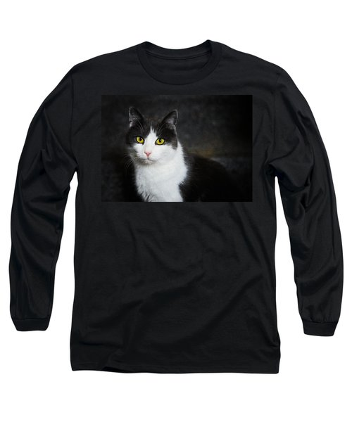 Cat Portrait With Texture Long Sleeve T-Shirt by Matthias Hauser