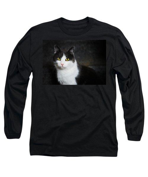 Cat Portrait With Texture Long Sleeve T-Shirt