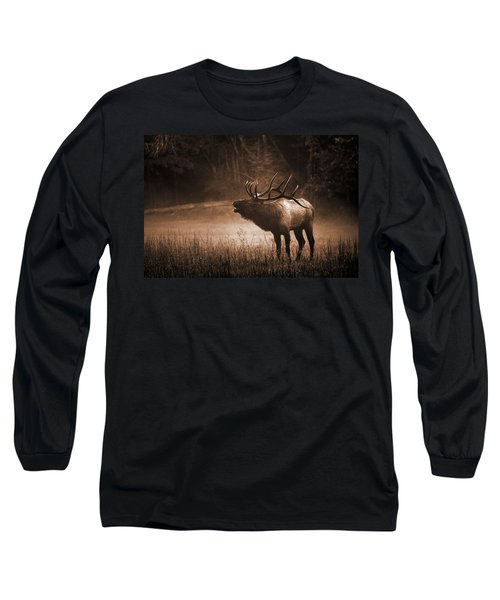 Cataloochee Bull Elk In Sepia Long Sleeve T-Shirt