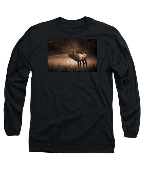Cataloochee Bull Elk In Sepia Long Sleeve T-Shirt