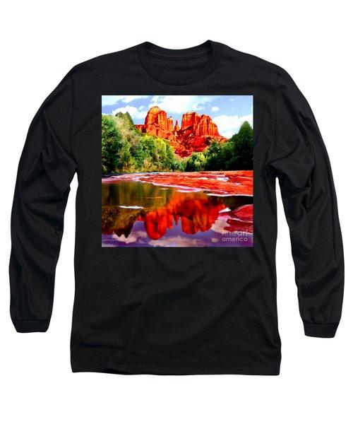 Cathedral Rock Sedona Arizona Long Sleeve T-Shirt by Bob and Nadine Johnston