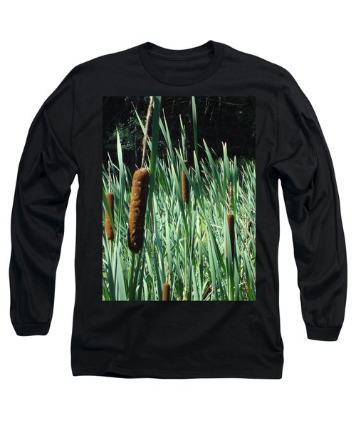 Long Sleeve T-Shirt featuring the photograph Cattails A Plenty by Michael Porchik