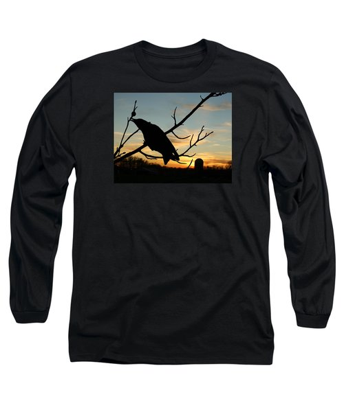 Cawcaw Over Sunset Silhouette Art Long Sleeve T-Shirt by Lesa Fine