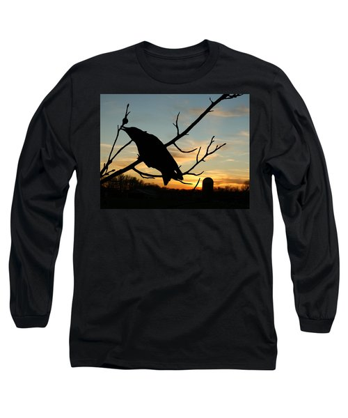 Cawcaw Over Sunset Silhouette Art Long Sleeve T-Shirt