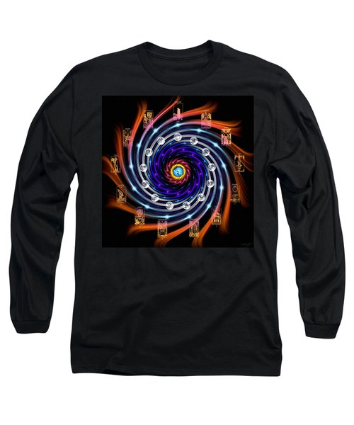 Celtic Tarot Moon Cycle Zodiac Long Sleeve T-Shirt