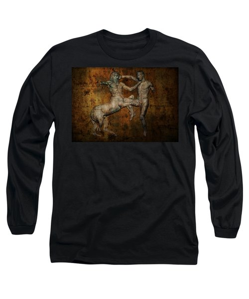 Centaur Vs Lapith Warrior Long Sleeve T-Shirt by Daniel Hagerman