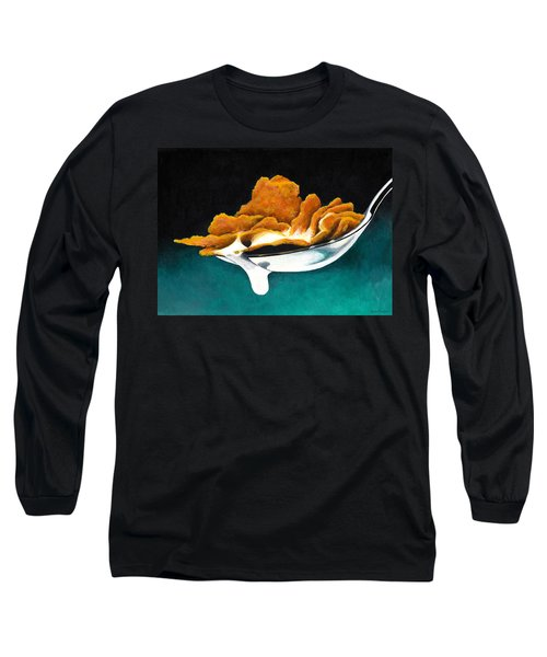 Long Sleeve T-Shirt featuring the painting Cereal In Spoon With Milk by Janice Dunbar
