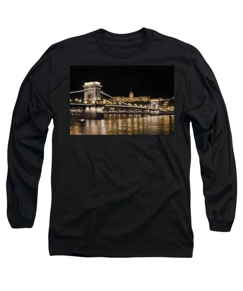 Chain Bridge And Buda Castle Winter Night Painterly Long Sleeve T-Shirt