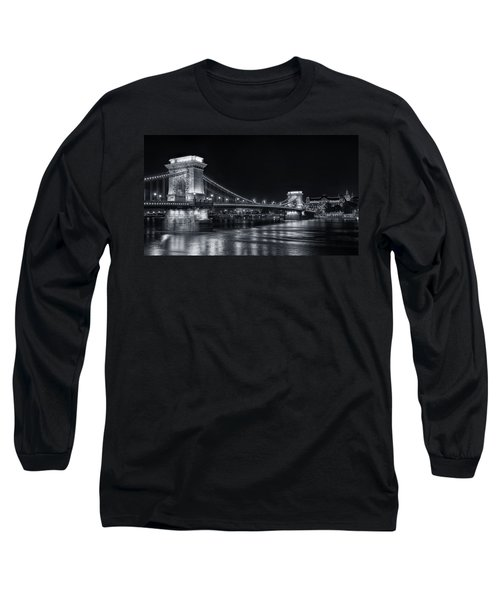 Chain Bridge Night Bw Long Sleeve T-Shirt