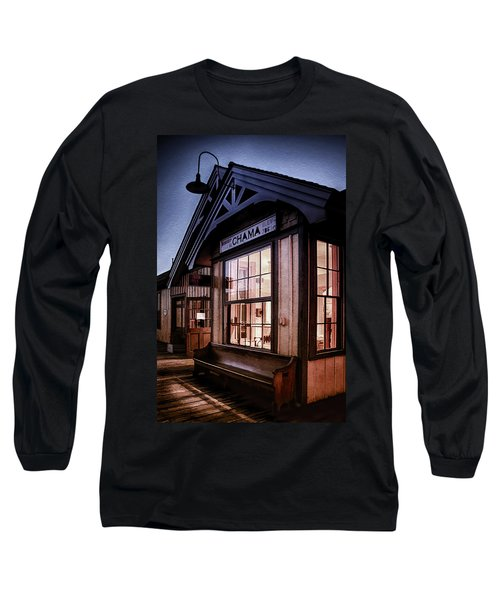 Long Sleeve T-Shirt featuring the photograph Chama Train Station by Priscilla Burgers