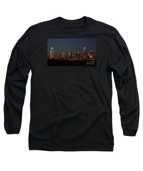 Charlotte City Skyline At Sunset Long Sleeve T-Shirt by Kevin McCarthy