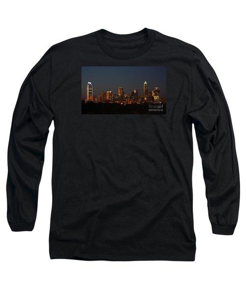 Charlotte City Skyline At Sunset Long Sleeve T-Shirt