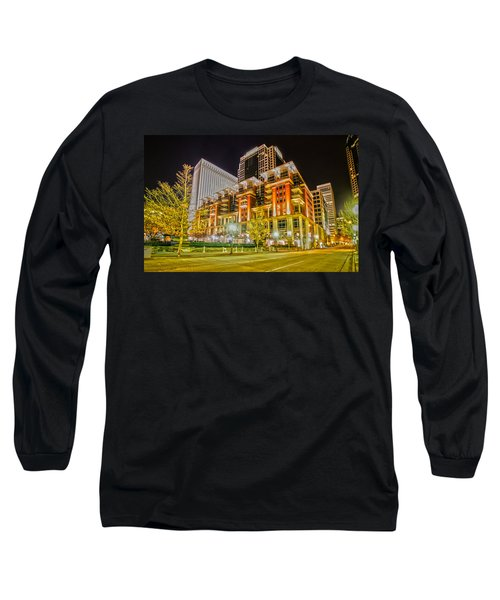 Charlotte City Skyline Night Scene Long Sleeve T-Shirt
