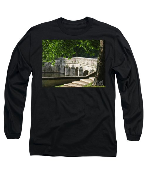 Long Sleeve T-Shirt featuring the photograph Chateau Chambord Bridge by HEVi FineArt