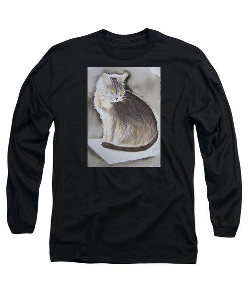 Cheeky Cat  Long Sleeve T-Shirt by Elvira Ingram